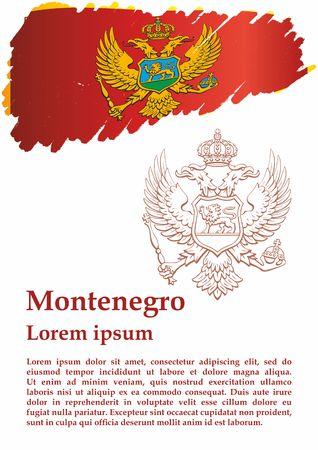 Flag of Montenegro, Montenegro. The flag of Montenegro. Bright, colorful vector illustration.