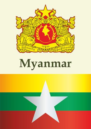 Flag of Myanmar, Republic of the Union of Myanmar. template for award design, an official document with the flag of Myanmar. Bright, colorful vector illustration