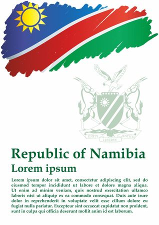 Flag of Namibia, Republic of Namibia. The flag of Namibia. Bright, colorful vector illustration.
