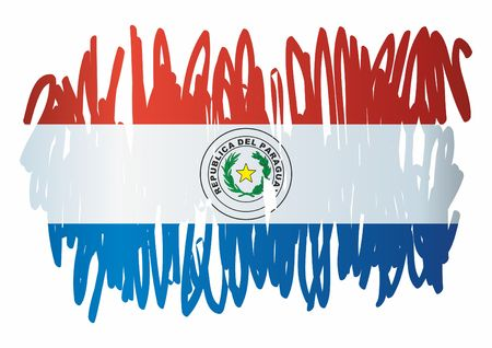 Flag of Paraguay, Republic of Paraguay. The flag of Paraguay. Bright, colorful vector illustration.