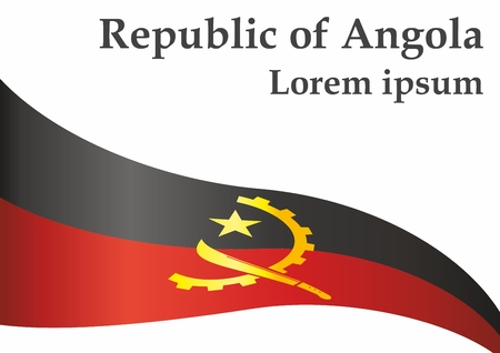 Flag of Angola, Republic of Angola. Template for the Angola. Bright, colorful vector illustration.