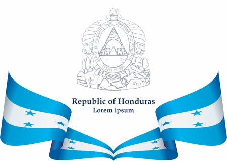 Flag of Honduras, Republic of Honduras. The flag of Honduras. Bright, colorful vector illustration. Stock Vector - 126210350