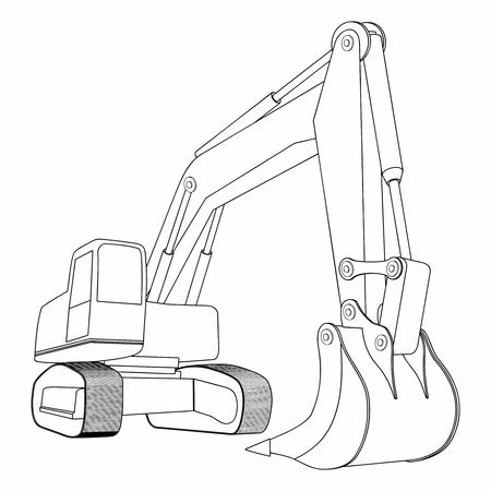 Pelle rétrocaveuse, pelle jaune, véhicules de construction. Concept d'excavatrice simple. Peut être utilisé pour une entreprise de construction.