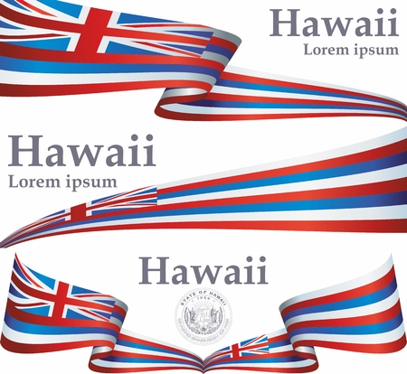 Flag of Hawaii, State of Hawaii, United States of America. Hawaii flag for award design. Bright, colorful vector illustration for web and graphic design.