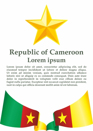 Flag of Cameroon, Republic of Cameroon. The flag of Cameroon. Bright, colorful vector illustration. Vettoriali
