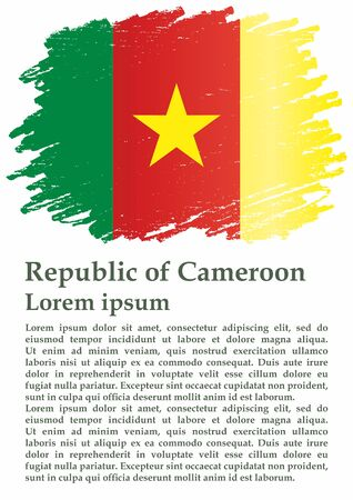 Flag of Cameroon, Republic of Cameroon. The flag of Cameroon. Bright, colorful vector illustration.  イラスト・ベクター素材
