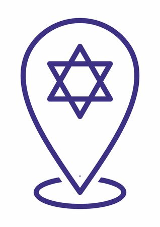 Star of David, Shield of David or Magen David. location icon For Multi purpose. Map markers. Vector Illustration Illustration