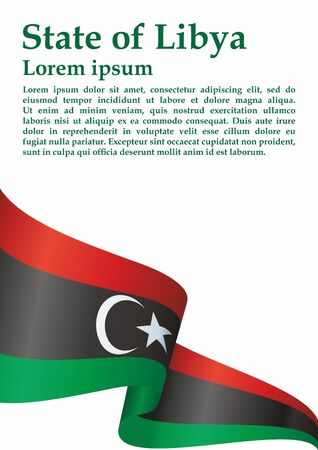 Flag of Libya, State of Libya. Template for the award of the Libya. Bright, colorful vector illustration.