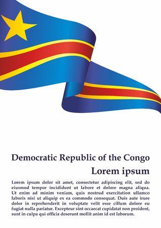 Flag of the Democratic Republic of the Congo. Democratic Republic of the Congo. Bright, colorful vector illustration. Vetores