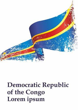 Flag of the Democratic Republic of the Congo. Democratic Republic of the Congo. Bright, colorful vector illustration.