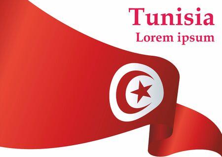 Flag of Tunisia, Republic of Tunisia. The flag of Tunisia. Bright, colorful vector illustration.