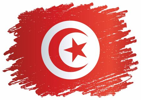 Flag of Tunisia, Republic of Tunisia. The flag of Tunisia. Bright, colorful vector illustration.