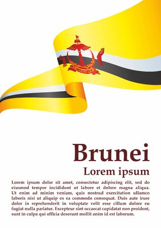 Flag of Brunei, Nation of Brunei, the Abode of Peace. Template for award design, an official document with the flag of Brunei. Bright, colorful vector illustration.