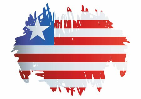 Flag of Liberia, Republic of Liberia is a country on the West African coast. Template for award design, an official document with the flag of Liberia. Bright, colorful vector illustration.