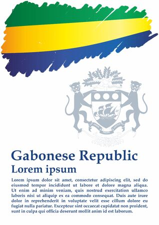 Flag of Gabon, Gabonese Republic. Template for award design, an official document with the flag of Gabon. Bright, colorful vector illustration. Stock fotó - 129632750