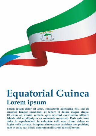 Flag of Equatorial Guinea, Republic of Equatorial Guinea. Template for award design, an official document with the flag of Equatorial Guinea. Bright, colorful vector illustration.