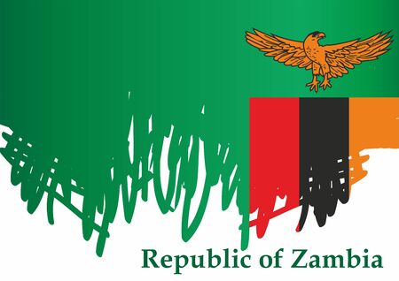 Flag of Zambia, Republic of Zambia. Template for award design, an official document with the flag of Zambia. Bright, colorful vector illustration. 일러스트