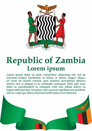 Flag of Zambia, Republic of Zambia. Template for award design, an official document with the flag of Zambia. Bright, colorful vector illustration. Stock Illustratie