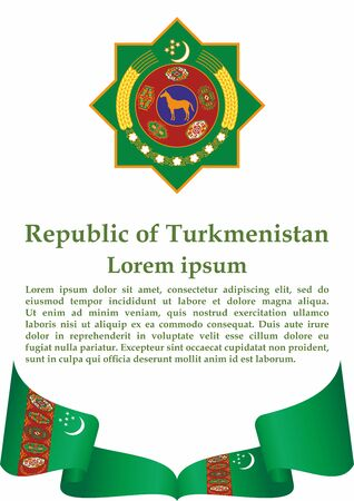 Flag of Turkmenistan, Republic of Turkmenistan. Template for award design, an official document with the flag of Turkmenistan. Bright, colorful vector illustration. Stock Illustratie