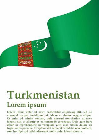 Flag of Turkmenistan, Republic of Turkmenistan. Template for award design, an official document with the flag of Turkmenistan. Bright, colorful vector illustration. Vettoriali