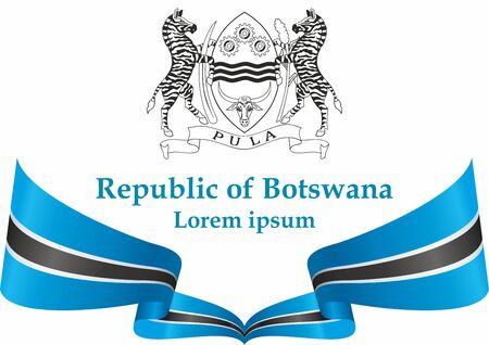 Flag of Botswana, Republic of Botswana. Template for award design, an official document with the flag of Botswana. Bright, colorful vector illustration.