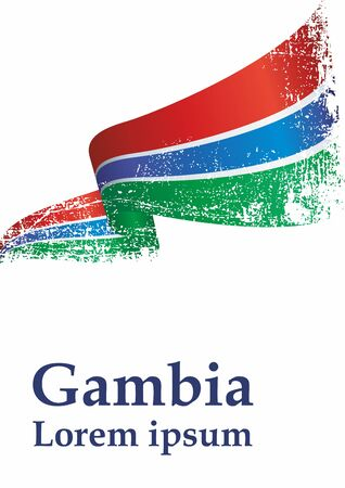 Flag of the Gambia, Republic of The Gambia. Template for award design, an official document with the flag of The Gambia. Bright, colorful vector illustration.
