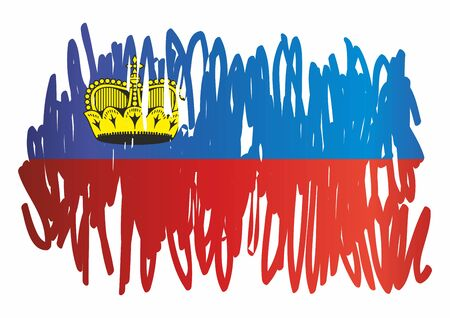 Flag of Liechtenstein, Principality of Liechtenstein. Template for award design, an official document with the flag of Liechtenstein. Bright, colorful vector illustration for graphic and web design.