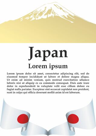 Flag of Japan, Land of the Rising Sun. Template for award design, an official document with the flag of Japan. Bright, colorful vector illustration for graphic and web design.