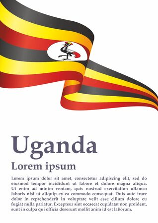 Flag of Uganda, Republic of Uganda. Template for award design, an official document with the flag of Uganda. Bright, colorful vector illustration for graphic and web design. Banque d'images - 131127790