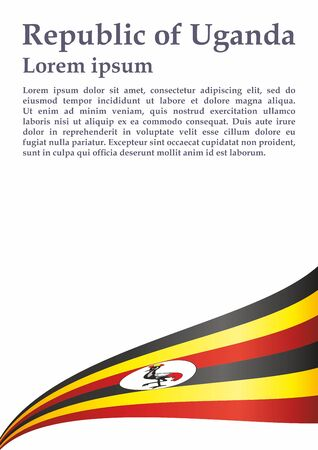 Flag of Uganda, Republic of Uganda. Template for award design, an official document with the flag of Uganda. Bright, colorful vector illustration for graphic and web design.