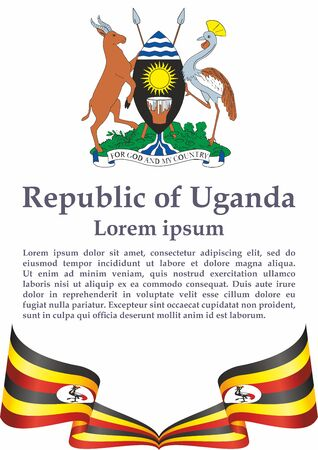 Flag of Uganda, Republic of Uganda. Template for award design, an official document with the flag of Uganda. Bright, colorful vector illustration for graphic and web design. Banque d'images - 131127795