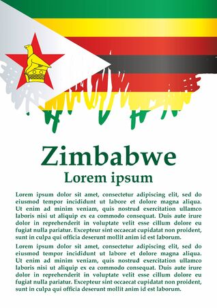 Flag of Zimbabwe, Republic of Zimbabwe. Template for award design, an official document with the flag of Zimbabwe. Bright, colorful vector illustration for graphic and web design.