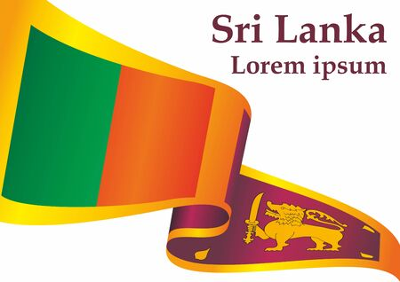 Flag of Sri Lanka, Democratic Socialist Republic of Sri Lanka. Template for award design, an official document with the flag of Sri Lanka. Bright, colorful vector illustration for graphic and web design.