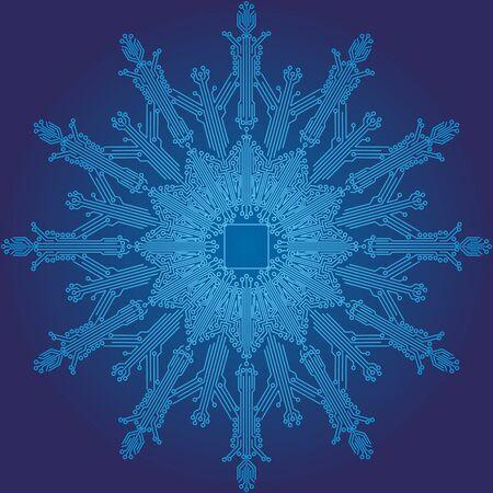 Snowflake, Cyber Snowflake. Christmas decorations for the Christmas tree in the form of snowflakes made of microcircuits