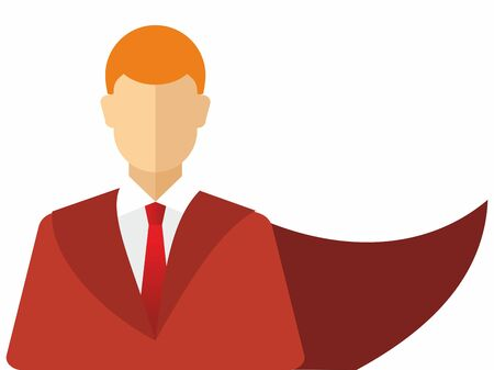 Super hero in a raincoat. The concept of a successful person. Vector icon