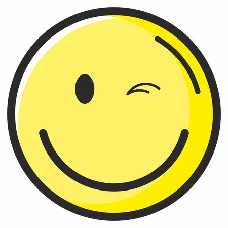 Winking smiley. World Smile Day, October 4th banner. Cute happy round emoticon with a beaming smile. Vector illustration. Illustration