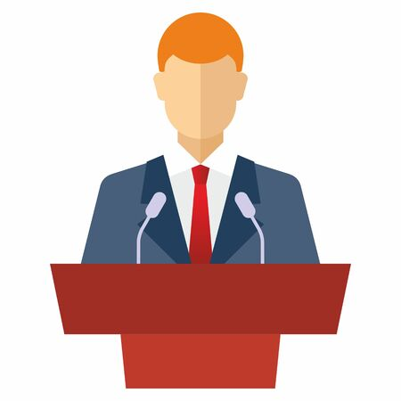 Public Speaker Icon on White Background., Orator speaking from tribune icon. Graphic elements for your design Illustration