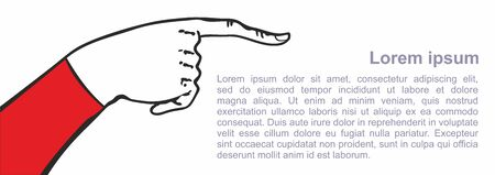 Hand with index finger. Pointing finger. Vector Illustration of mens hand