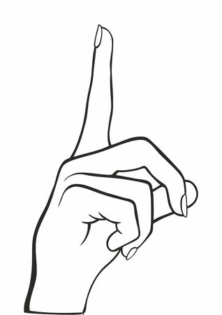 Hand with index finger. Pointing finger. Vector Illustration of female hands