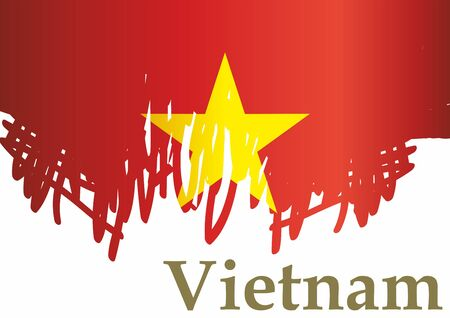 Flag of Vietnam, Socialist Republic of Vietnam, template for award design, an official document with the flag of the Socialist Republic of Vietnam. Bright, colorful vector illustration