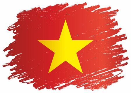 Flag of Vietnam, Socialist Republic of Vietnam, template for award design, an official document with the flag of the Socialist Republic of Vietnam. Bright, colorful vector illustration Çizim