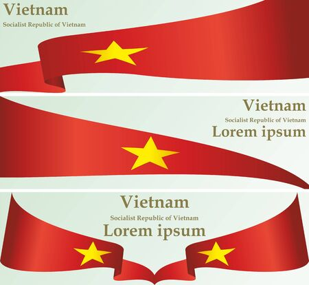 Flag of Vietnam, Socialist Republic of Vietnam, template for award design, an official document with the flag of the Socialist Republic of Vietnam. Bright, colorful vector illustration  イラスト・ベクター素材