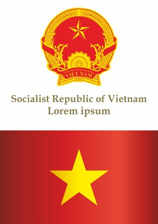 Flag of Vietnam, Socialist Republic of Vietnam, template for award design, an official document with the flag of the Socialist Republic of Vietnam. Bright, colorful vector illustration Иллюстрация