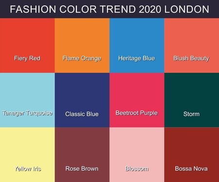 FASHION COLOR TREND Spring Summer 2020. New trendy colors palette guide 2020 for your designs mobile application, web designs and graphic designs.