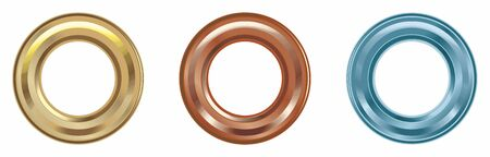 Solid Brass Eyelets, Multicolored eyelets, Grommets set isolated. Metal, brass, steel, gold, silver eyelets. Vector image.  イラスト・ベクター素材