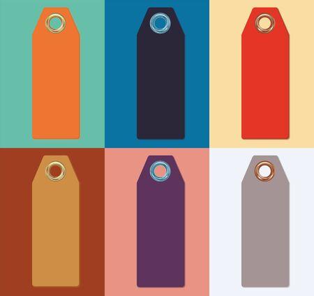 Set of color sale tags, Fashionable color. Set of colorful sale tag labels, vector illustration.