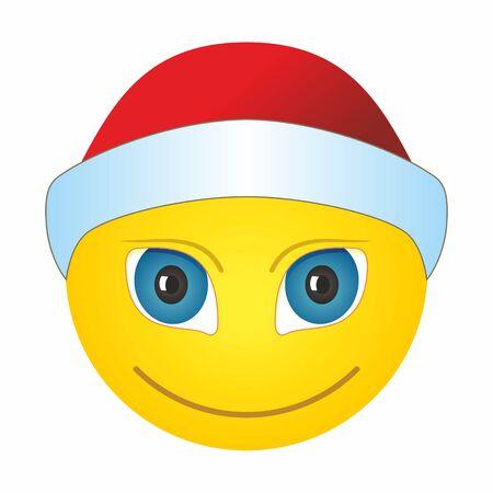 Smiley in a Santa hat, emoji emoticon with Santa Claus hat celebrating Christmas.