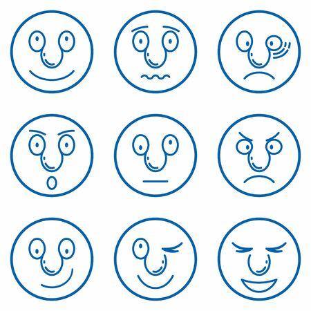 Smiley, Set of Emoticons. Set of Emoji. Emoticons simple linear icons set. For print, icon, logo, poster, symbol, design, decor, textile, paper, card, invitation, holiday.  イラスト・ベクター素材
