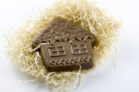 Chocolate house. Figures made of chocolate, the house is made of chocolate. Confectionery A restaurant