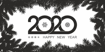 Happy 2020 new year. Christmas and New Year posters and Card for your seasonal holidays flyers, greetings and invitations cards and christmas themed congratulations and banners. Vector illustration.  イラスト・ベクター素材